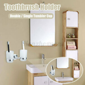 Double-Tumbler-Cup-Toothbrush-Holder-Rack-Wall-Mounted-For-Bathroom-Glass-Cups