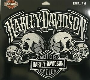 Harley-Davidson-Skull-Text-B-amp-S-9-034-x-6-1-2-034-Motorcycle-Vest-Sew-on-Patch-EM169884