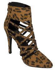 NEW Tank Black Leopard cheetah STRAPPY HIGH HEEL PUMP WOMEN SANDAL shoe Size 6.5
