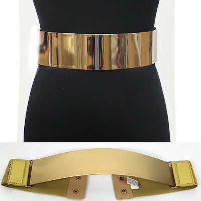 Women Fashion Mirror Metal Gold Plate Wide Belt Elastic Obi Waist Stretch Black