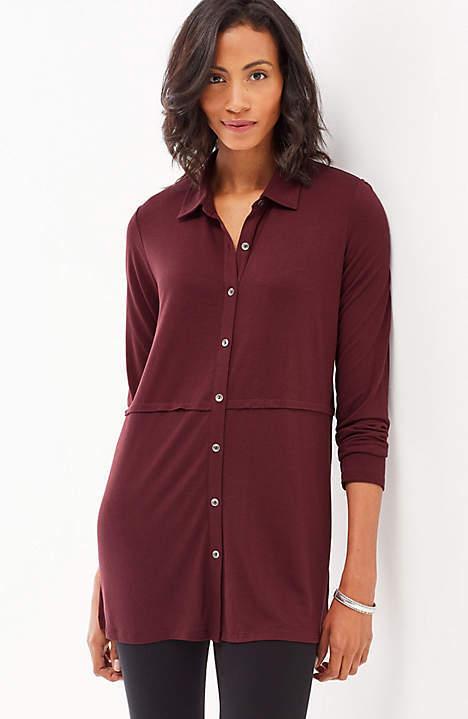 J. Jill - 2X(Plus) - Very Pretty & Comfy Pinot Button-Front Knit Tunic - NWT
