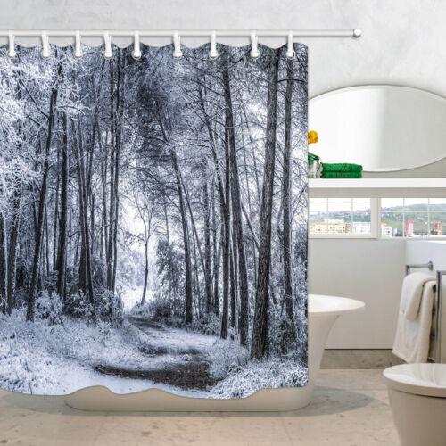 Nature Winter Woods Shower Curtain Bathroom Waterproof Mildew Resistance 71x71/'/'