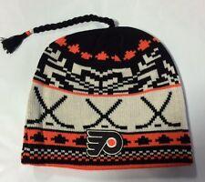 Philadelphia Flyers REEBOK Knit Beanie Toque Winter Hat Skull - New NHL Tassel