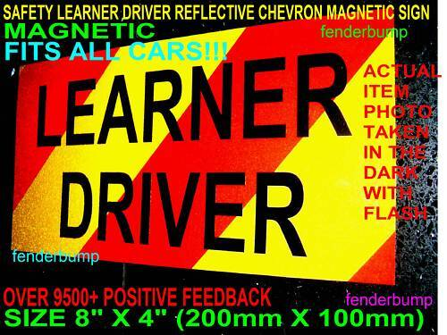 MAGNETIC SAFE LEARNER CAR DRIVER SIGN SAFETY *USE WITH L PLATES BE EASILY SEEN*