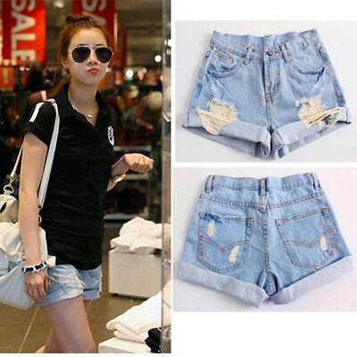 Light Blue Women's Girls' Vintage Retro Flange Hole High Waist Jeans Denim Short