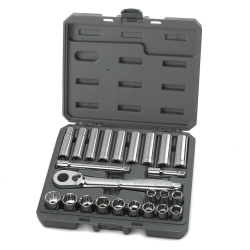 Craftsman 24 Piece Metric 1//2 Inch Drive Socket Set w// 84 Tooth Ratchet