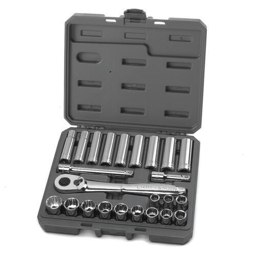Craftsman 24 Piece Metric 1//2 Inch Drive Socket Set w// 84 Tooth Ratchet