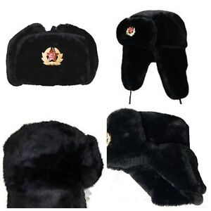 NEW-RUSSIAN-TRAPPER-HAT-WITH-SOVIET-BADGE-FAUX-FUR-USHANKA-COSSACK-FLAPS