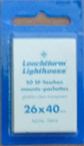 LIGHTHOUSE-STAMP-MOUNTS-CLEAR-Pack-of-50-Individual-26mm-x-40mm-Ref-No-74414