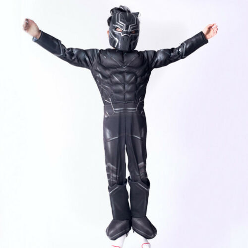 Black Panther Kids Boys Superhero Costume Cosplay Fancy Outfits Suit Set 4-10Y