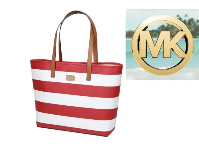 Michael Kors Medium-Large Jet Set Travel Tote in Red/White Stripe + Goldtone NWT