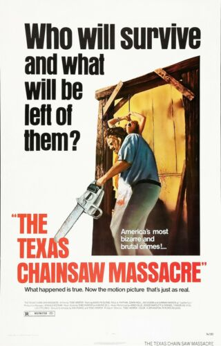 """THE TEXAS CHAINSAW MASSACRE Movie Poster Horror Leatherface/""""Who will Survive?/"""""""