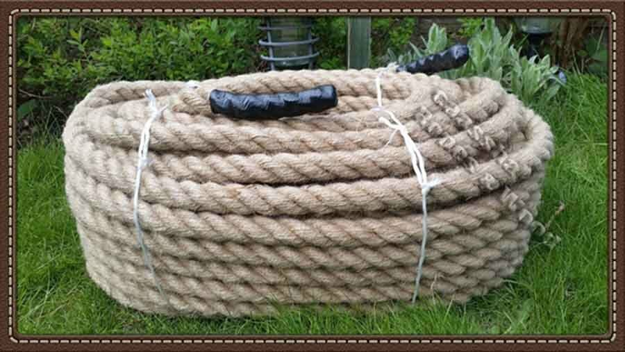 36mm thick 100 natural manila rope decking garden for Garden decking with rope
