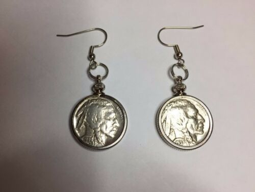 Authentic coins Sparkling Vintage Indian Head// Buffalo Nickel  Coin Earrings