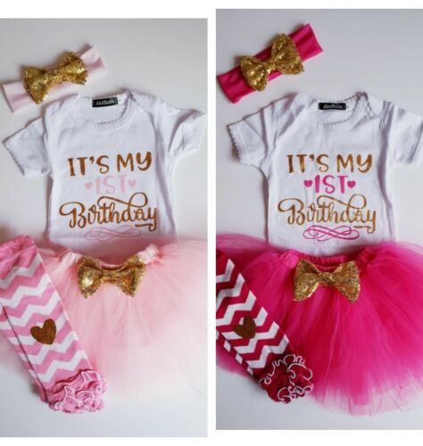 Premier 1st Anniversaire Fille Bébé Rose Gâteau Smash Princesse Tutu jupe robe Outfit