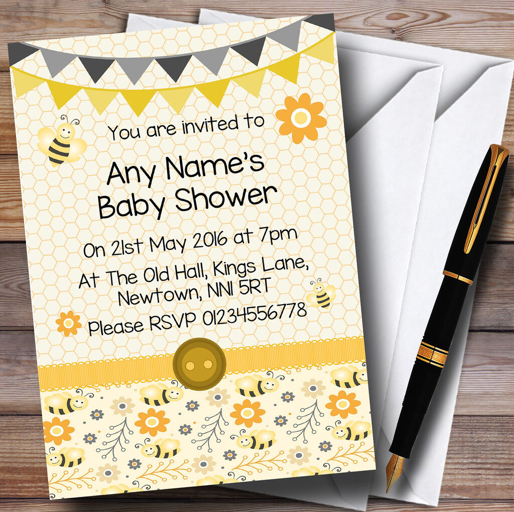 Amarillo Negro Lindo Bumble Bee Panal Baby Shower Personalizado Personalizado Personalizado Invitaciones 0b0ac2