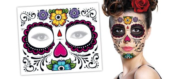 Day of The Dead Temporary Tattoo Floral Flower Dia De Los Muertos Sugar Skull NR
