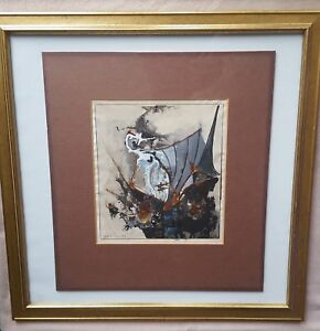 JEPHAN-de-VILLIERS-sculptor-b1940-original-signed-oil-painting-The-Galleon