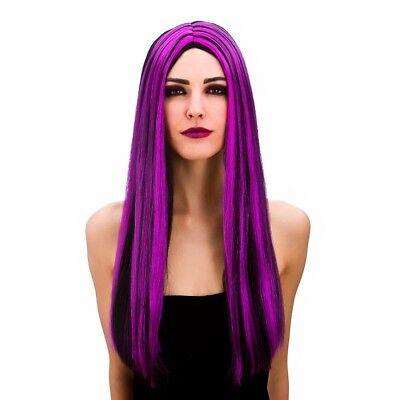 Lungo Nero Parrucca Strega Viola Donna Vampiressa Strega Halloween Fancy  Dress  42506758c67b