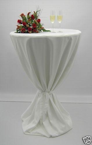 Stehtisch - Husse, rund bis 60cm, Farbe weiss, Exklusiv-Serie, mit Schleifenband