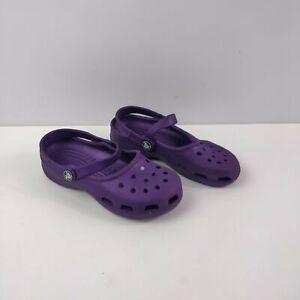 Bambine Bambini Crocs Viola Mocassini Scarpe sandali di gomma Zoccoli M 2 W 4