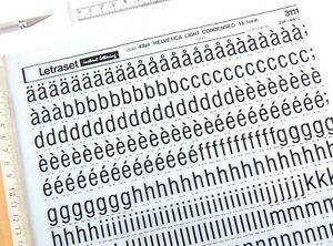Details about LETRASET Rub On Letter Transfers 48pt HELVETICA LIGHT  CONDENSED (#3111) 13 1 mm