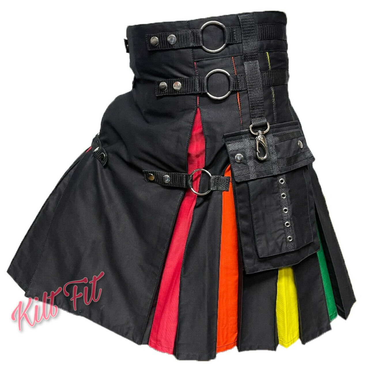 Rainbow Hybrid Utility Kilt Nylon Straps Black Cotton Pride Kilt 28