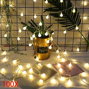 Details About Led Globe Ball Outside Garden Lights String Fairy 100 Warm White 33ft