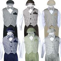 Baby Boy Kid Toddler Gingham Easter Wedding Formal Long Sleeve Vest Set Sm-4t