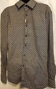 Rosso-Milano-Men-039-s-Modern-Fit-Dress-Shirt-Black-Large-16-5-Neck-ON-SALE
