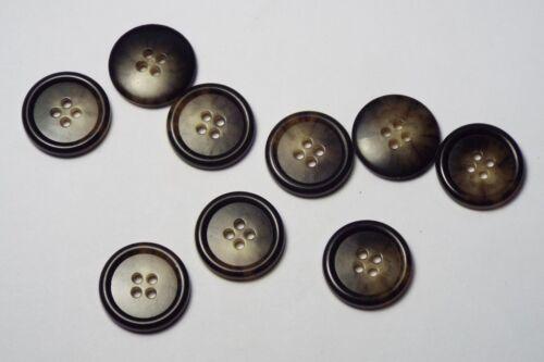 10pc 15mm Marrone Scuro FINTO CORNO OSSO Camicia Abito cardigan knitwear pulsante 3769