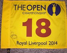 RORY MCILROY SIGNED 2014 BRITISH OPEN OFFICIAL GOLF FLAG ROYAL LIVERPOOL