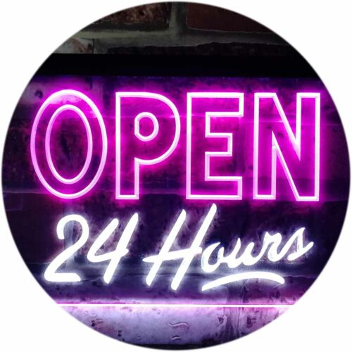 Open 24 Hours Display Dual Color LED Neon Sign st6-i0035