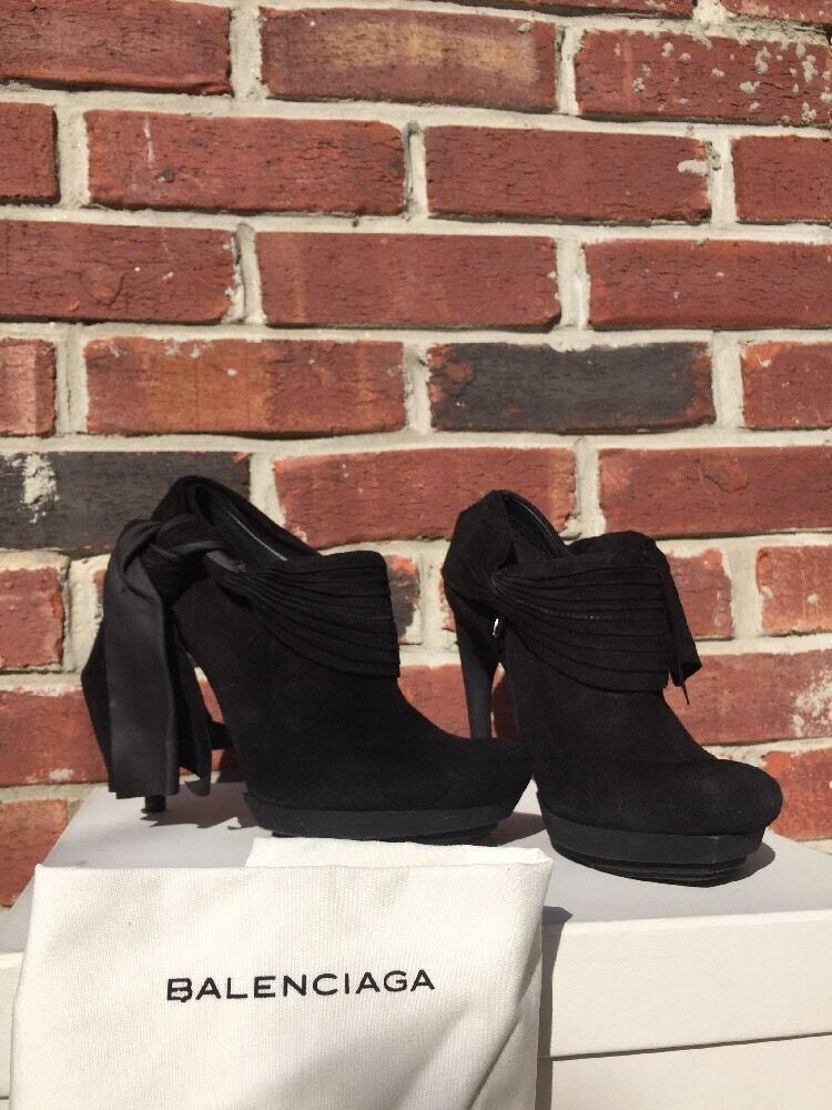 BALENCIAGA Booties Boots BOW Black Suede Heels Matte Black 36 6  Barney's