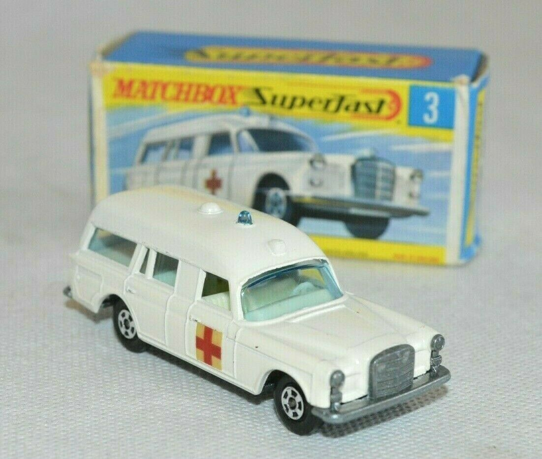 Matchbox Lesney Super casi mercedes benz binz Ambulance nr 3 top OVP 2x camilla  h5