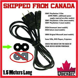 Power-Cable-Cord-2-Prong-8-Style-For-PS2-PS3-PS4-XBox-Dreamcast-Projector-Stereo
