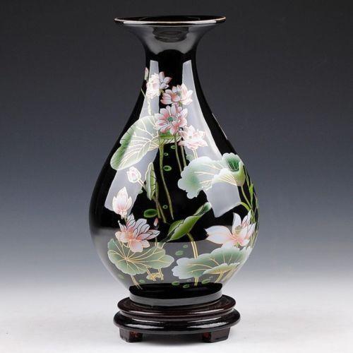 Oriental Chinese Hand Painted Black Lotus Flowers Drop Shape Vase N