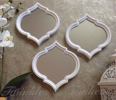 3 Moroccan Wall Mirrors White Wood Effect Shabby Chic Home Vintage NEW