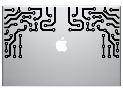 "Circuit Board design for both corners for macbook mac air decal sticker5.5/""Black"