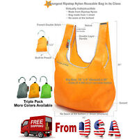 3 Pack Super Strong Ecojeannie Ripstop Nylon Foldable Reusable Bag Grocery Tote