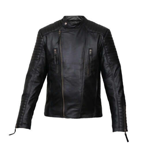 Men Fashion and bike Lamb Skin Genuine Strong Black leather Jacket men jacket