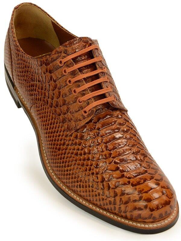 Stacy Adams Cognac Tan Leather Snakeskin Anaconda Pattern Oxford Dress shoes