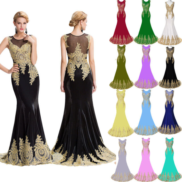 Applique Long Prom Dress Crystal Formal Evening Masquerade Ball Gown Bridesmaid
