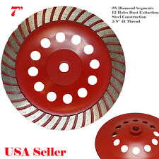 "7"" x 38 Segment 5/8-11 Thread Diamond Grinding CUP Wheel Disc Grinder Turbo"