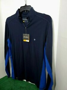 Eddie-Bauer-Long-Sleeve-Light-Weight-Men-039-s-Pull-Over-Med-Zip-Up-Collar-NWT