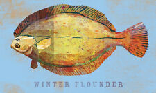 FISH FISHING ART PRINT - Winter Flounder by John Golden 19x13 Coastal Poster