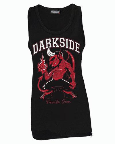 DARKSIDE DEVIL 666 UNISEX BLACK VEST TOP TATTOO BIKER PUNK ROCKABILLY S-2XL
