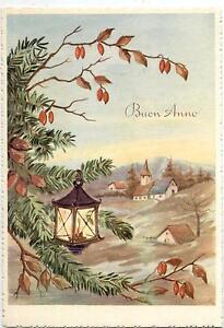 Buon-Natale-con-Lanterna-Paesaggio-Xmas-Vintage-PC-Circa-1950-16