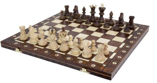 """Chess Set Ambassador European Wooden Handmade Set 21/""""x 21/"""" Wood Board Pieces NEW"""