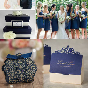 Image Is Loading Luxury Navy Blue Crown Wedding Favour Bo Party